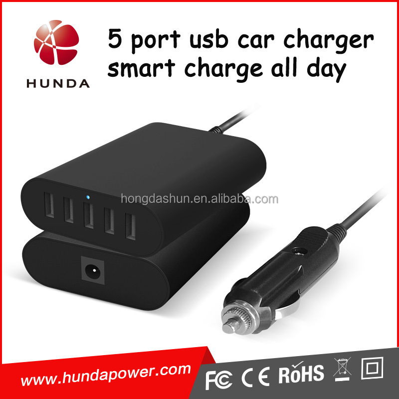 automotive portable power 40w 5v 8a smart power IQ 5 port usb multi car charging station for mobile phone 6