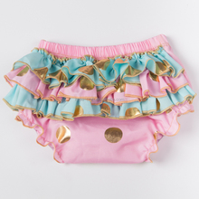Pink Ruffle Baby Bloomers Girls Shorts,Cotton Baby Diaper Covers ,Gold Dots Baby Bloomers