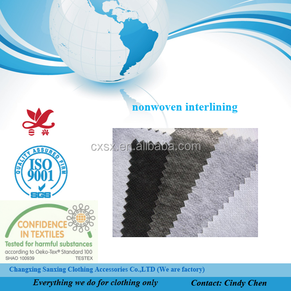100% polyester nonwoven interlining fiber for garments with Oeko Tex 100 certification