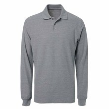 high quality men casual cheap knitted pique cotton grey blank long sleeve polo shirt customized logo corporate uniform shirt