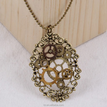 New design steampunk gear cameo pendant statement necklace 2015 yiwu fashion imitation jewelry hot sale