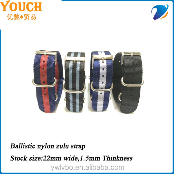 YOUCH Supply 1.5mm thinkness ballistic nylon material 22mm zulu strap watch strap stock nato strap