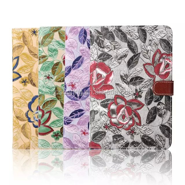 Fancy flower wallet pouch case for ipad mini 4, Credit card PU case for ipad mini 4