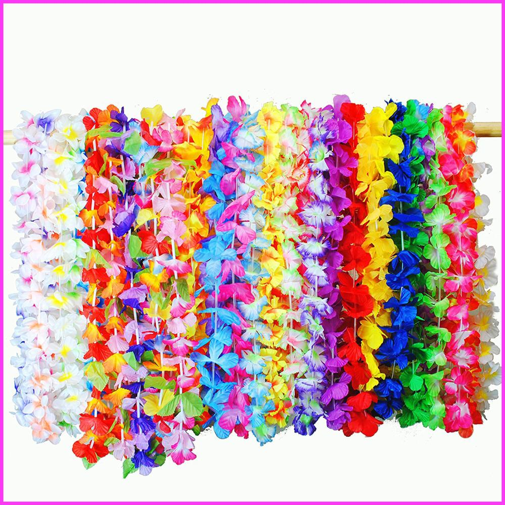 2017 Newest Factory Cheap Direct Wholesale36 Counts Tropical Hawaiian Luau Flower Lei Party Favors