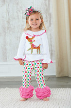 Christmas Reindeer cute ruffle toddler girls boutique clothing sets