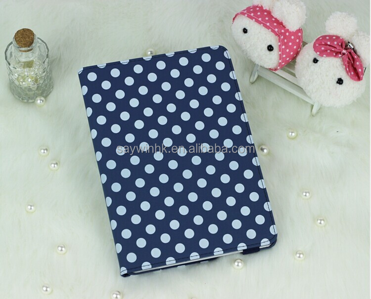 360-degree Swivel wave point Folio PU Leather tablet Stand Case for iPad Air(Blue)