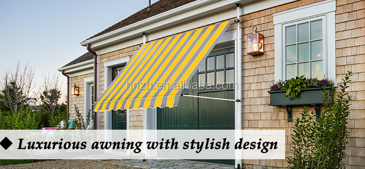 Outdoor manual waterproof aluminum retractable awning with hand crank