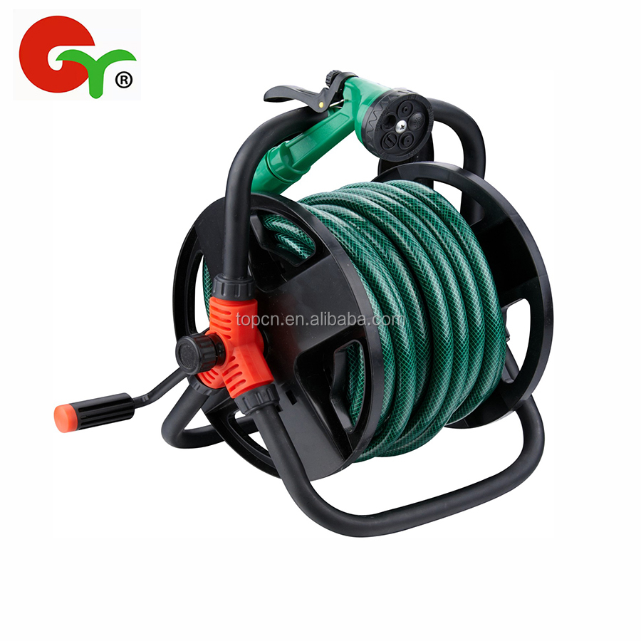 15M 20M Portable Iron Frame Garden hose reel cart with hose