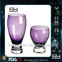 Purple Color Thick Bottom Custom Drinking Glass