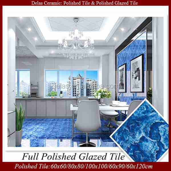 Ocean Blue Polished Porcelain Marble Floor Tile And Building Material