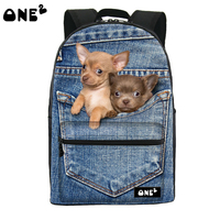 ONE2 design blue denim pocket dog school backpack for girls