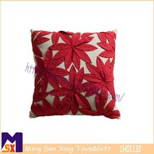 remarkable embroidery red maple leaf applique cushion cover embroidery silk cushion