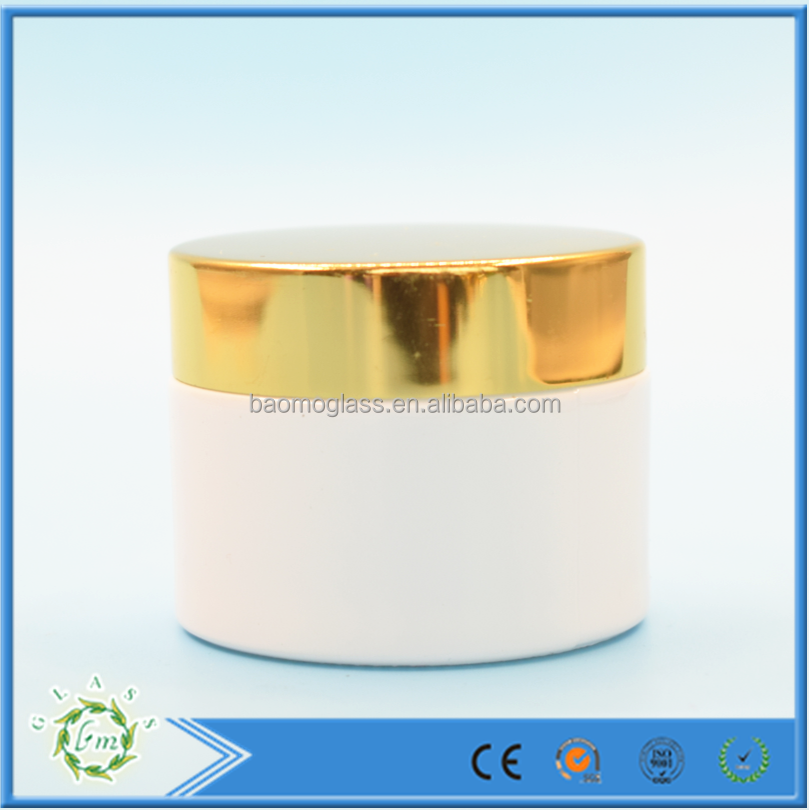 Wholesale 50ml rould Pearl white glass jar with aluminum gold lid for cream