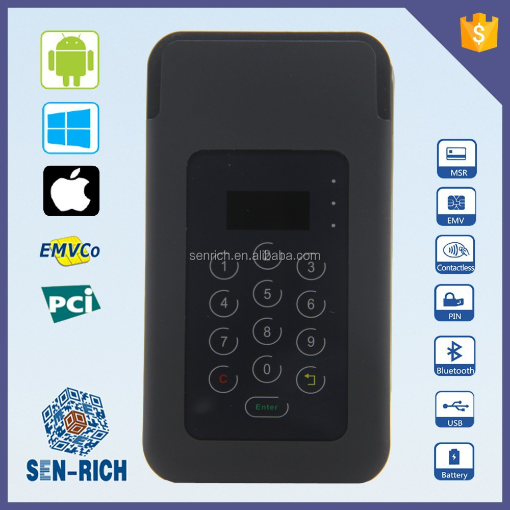 Bluetooth Type Encrypting Pin Pad with Smart Card Reader, MSR