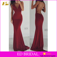 African Girls V neckline Spaghetti Straps Backless Tight Sexy Long Prom Dress
