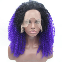 Black to purple afro kinky curl syntehtic lace wigs for black women