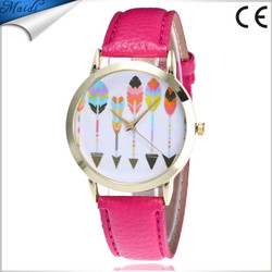 Hot Sale Fashion Women Watches Ladies New Arrow Pattern Leather Band Analog Quartz Vogue Wrist Watches LW085