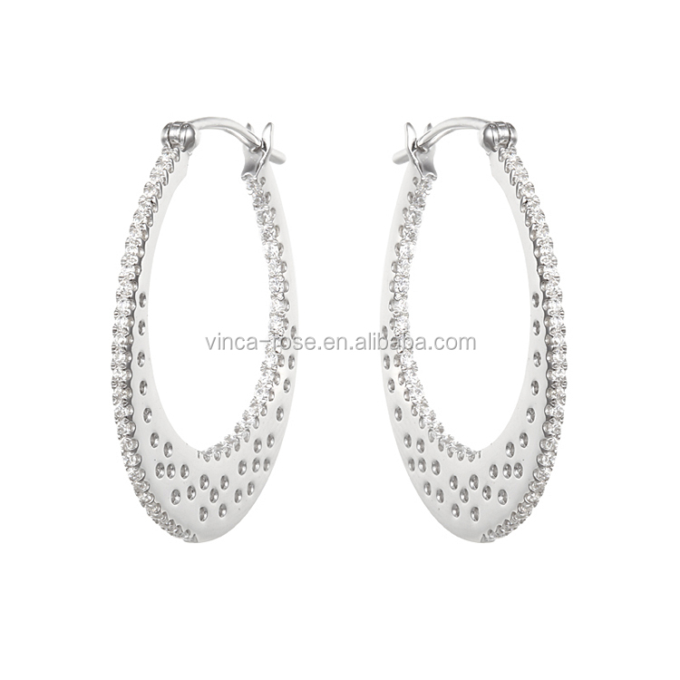 fashion jewellery white gold plated European luxury pave setting CZ 925 sterling silver hoop earrings