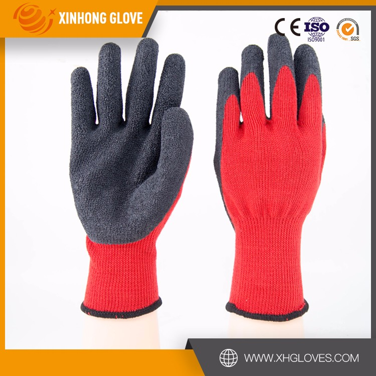 Xinhong industry elastic knitted work protect rubber gloves manufacturers