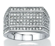 Men's 1.65 TCW Cubic Zirconia white gold plated 925 Silver Row Ring