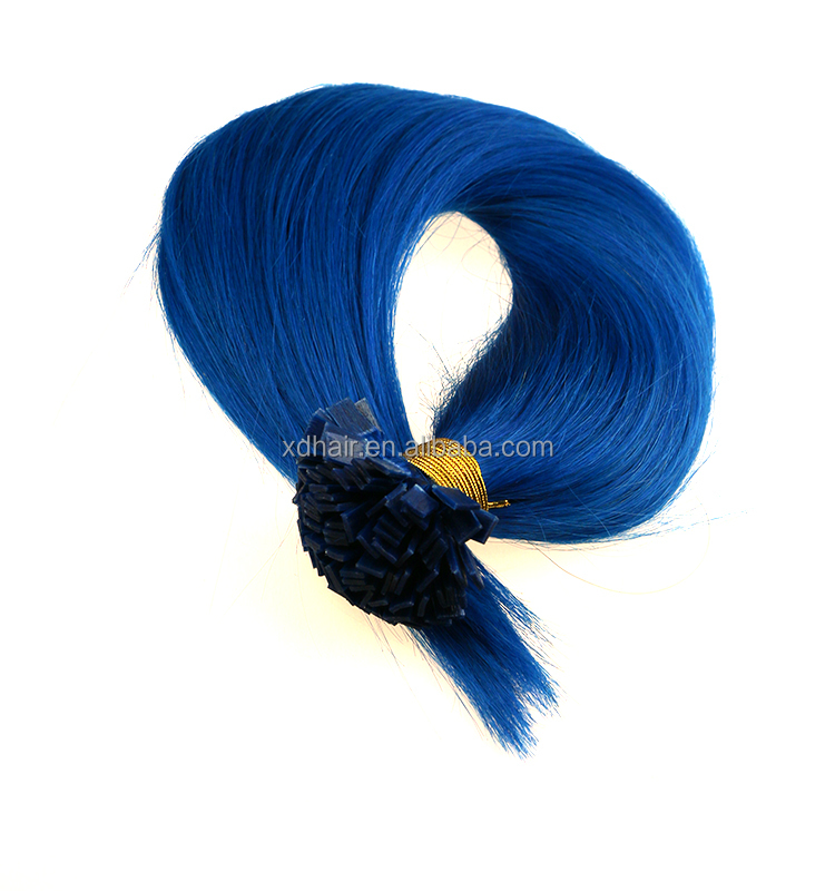 Best price & quality blue silk straight flat/U/I/V tip human hair extension