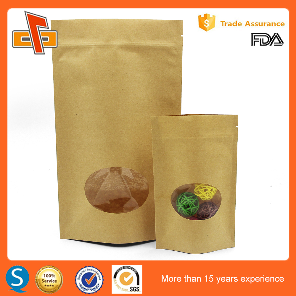 China manufacturer ODM biodegradable aluminum foil lined starbucks kraft paper coffee bag with clear window on wholesale
