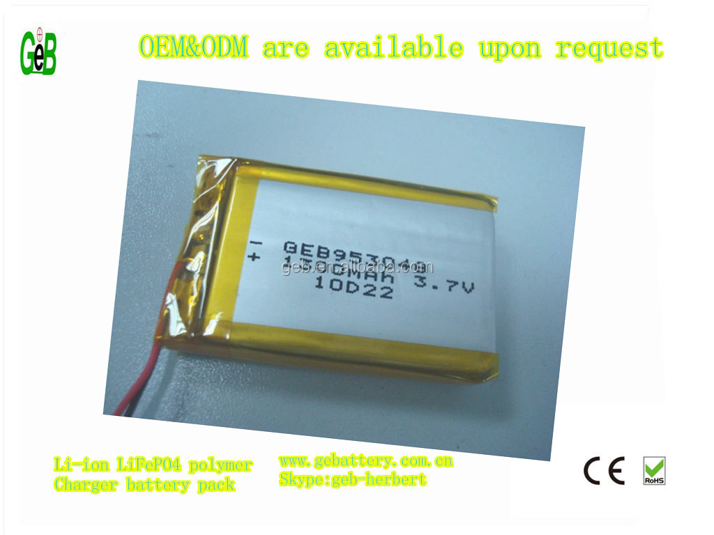 rechargeable Polymer Battery 3.7V 1300mAh for GPS, Portable DVD, PDA, Cellular phone, notebook, earphone, bluetooth devices
