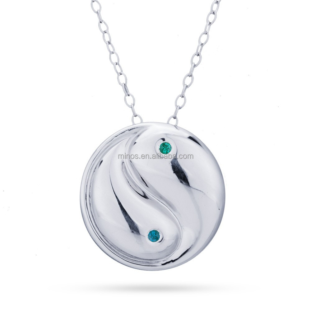 Fashion Jewelry Engravable Yin Yang Necklace with Birthstone
