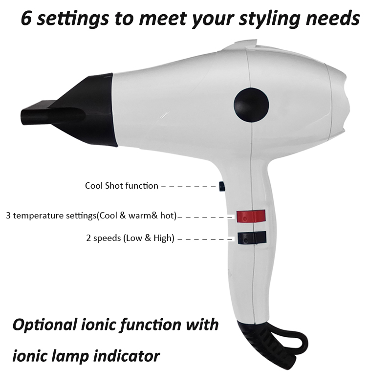 2018 newest Fashion 2200W Professional AC Motor Salon Ionic Hair Dryer with Cool shot air function