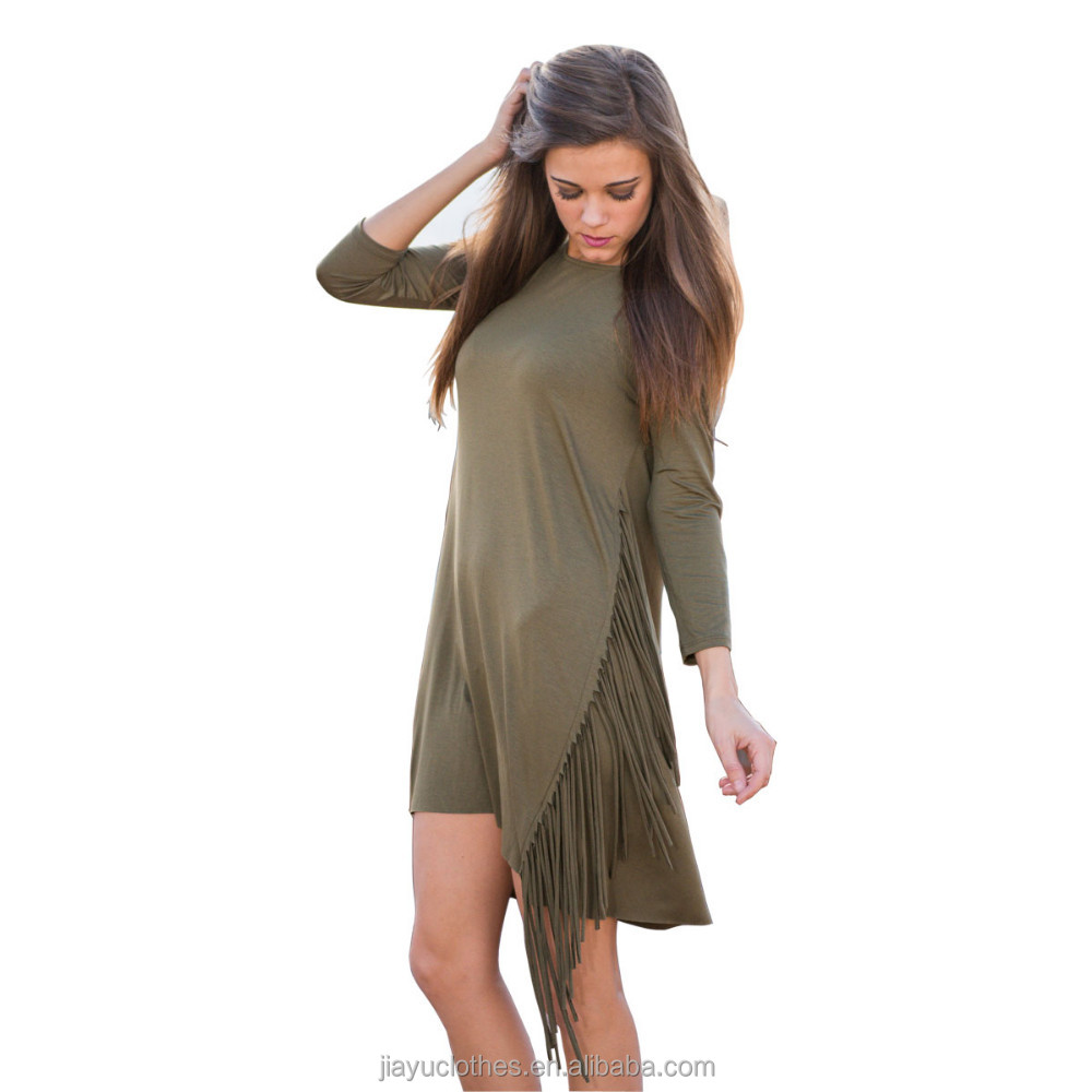 Two colors with long sleeve dress short fringe casual dress for lady