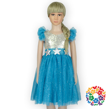 Newest Turquoise Girls Frock Dress Designs 1-6 Years Old Baby Girl Sequin Evening Dress Kids Boutique Tulle Dress Wholesale