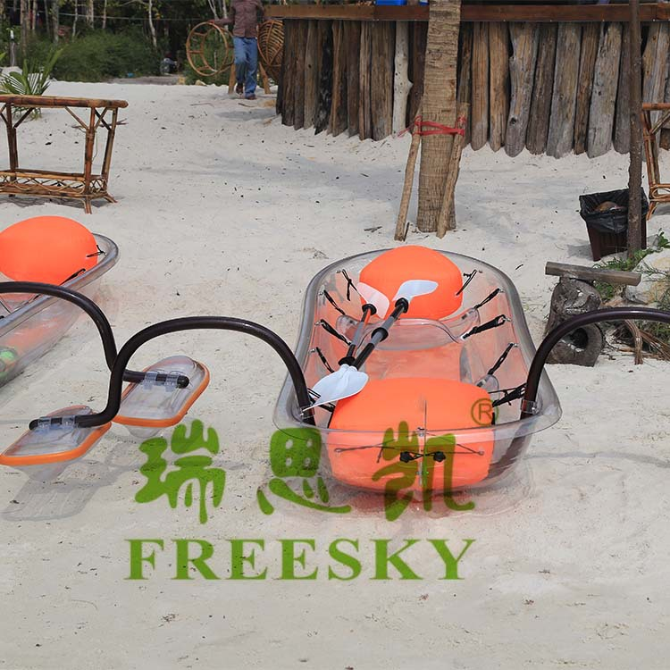 Freesky small clear plastic kayaks, double fishing boat, PC rowing canoe
