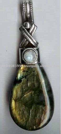 Labrodorite Pendant, 925 Silver Labrodorite Pendant, Large Silver Pendants, Ethnic Pendants, Indian Gemstone Pendants
