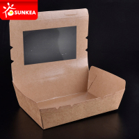 Kraft paper take out lunch boxes with PET clear window