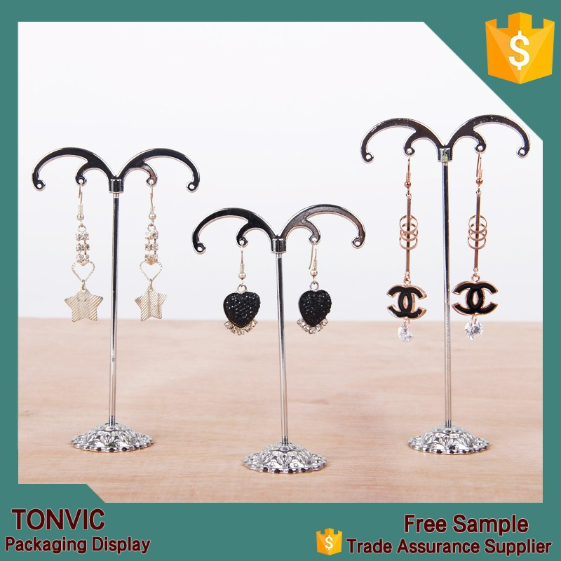 Tree Shape T Bar Metal Jewelry Earring Display Stand