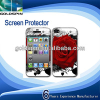 Manufacturer!Perfect Fit Printed Screen Protector For Iphone 4