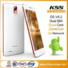 SHENZHEN Factory OEM K55 QHD IPS MTK6582 3G Dual Sim 1G+8G 5.5 inch quad core Android 4.4 6 inch big touch screen mobile phone