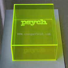 Custom design acrylic neon green box with silk screen printing