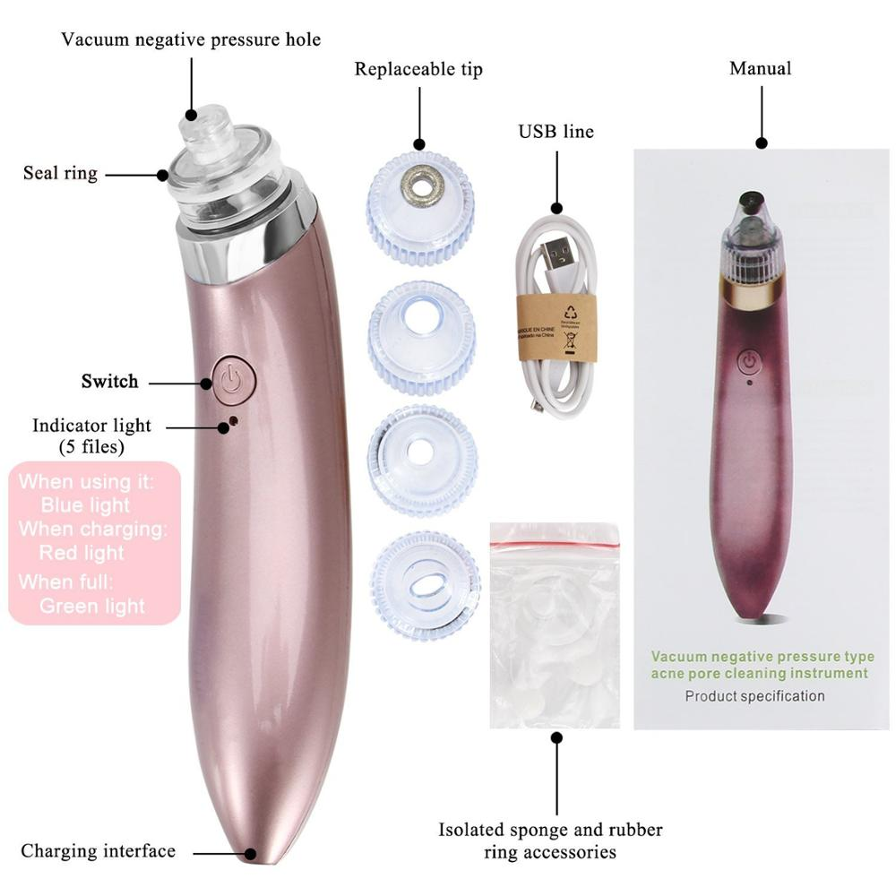 Wholesale Electric Rechargeable Mini Portable cleaner USB cordless blackhead vacuum suction vacuumblackhead remover vacuum