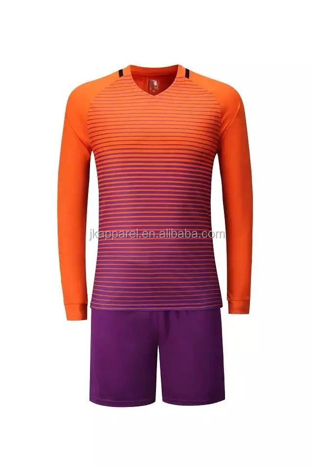 hot selling cheap soccer jerseys purple stripe long sleeve custom logo name number shirt + shorts sets