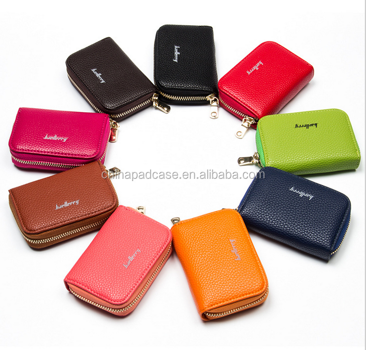 NEW Litchi pattern Unisex coin pocket Travel Soft leather card holder wallets With Zipper