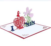 3D pop up Mothers Day postcards Love MoM gifts Thank you greeting <strong>cards</strong> with envelope Festival flowers laser cut hollow handmade