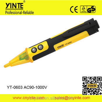YT-0603 Non-Contact Voltage Alert Pen 90-1000V AC LED Light Pocket Detector Tester
