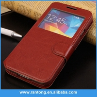 Luxury High Quality window open leather flip stand cell Phone Case for iphone 6