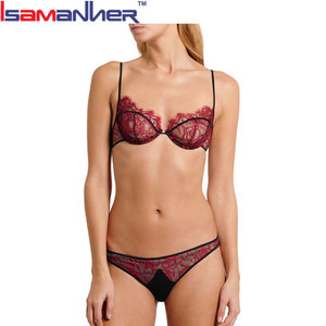 Hot lace sheer plus size sexi girl wear transparent bra panty set