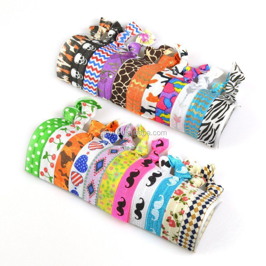 customized Knotted Twist Ribbon Elastic Hair Ties Band