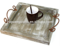 2016 antique wooden tray with metal handles