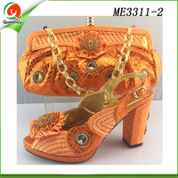 orange color woman shoes italian shoe and bag set wedge summer shoe