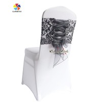Factory Wholesale Classic Style Taffeta Chair Cover Band with Organza Sash.