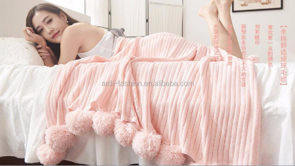 ladies poms hand knitted handmade queen cotton knit blanket